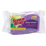 Stay Clean Non-Scratch Scrub Sponges, 3 3/16 x .85 x 4 3/4, Purple, 3/Pk