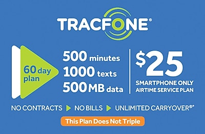 TracFone 500 Minutes Prepaid Airtime Card $25