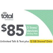 Total Wireless Unl Talk SMS Data 3 Lines Prepaid Airtime Card $85