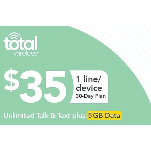 Total Wireless Unl Talk SMS Data Prepaid Airtime Card $35
