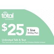 Total Wireless Unl Talk SMS  Prepaid Airtime Card $25