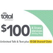 Total Wireless Unl Talk SMS Data 4 Lines  Prepaid Airtime Card $100