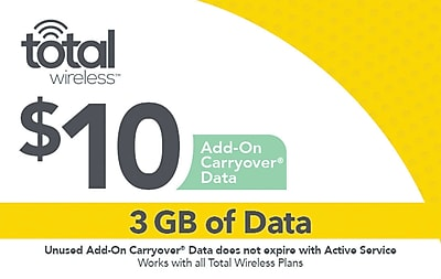 Total Wireless Data Card Prepaid Airtime Card $10