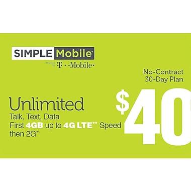 Simple Mobile Prepaid Airtime Card $40