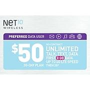 Net10 UNL Talk Text Prepaid Airtime Card $50