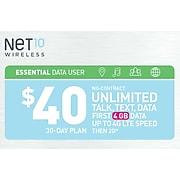 Net10 UNL Talk Text Prepaid Airtime Card $40
