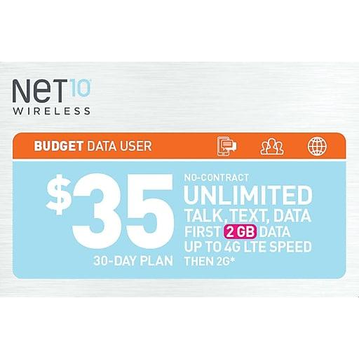 Net10 UNL Talk Text Prepaid Airtime Card $35