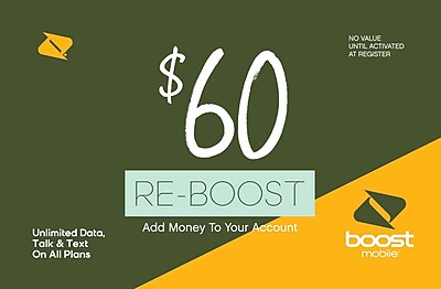 Boost Mobile Prepaid Airtime Card $60