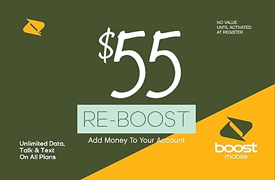 Boost Mobile Prepaid Airtime Card $55