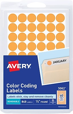 Avery 05062 Removable Self-Adhesive Round Paper Color-Coding Label, Orange, 1/2