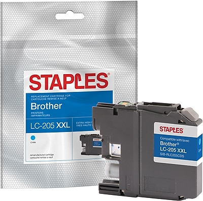 Staples® Reman Cyan Inkjet Cartridge, Brother LC-205XXL (LC205C), Super High Yield
