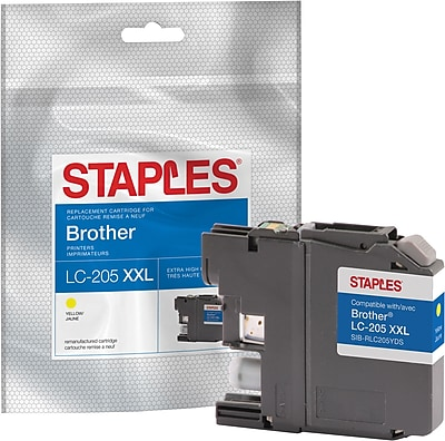 Staples® Reman Yellow Inkjet Cartridge, Brother LC-205XXL (LC205Y), Super High Yield