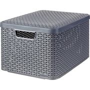 Large Style Box with Lid, Dark Gray