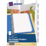 "Avery® Mini Preprinted Dividers 11319, 5-1/2"" x 8-1/2"", Monday-Sunday, 7-Tab Set"