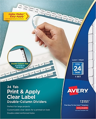 Avery Print & Apply Index Maker Double-Column Dividers, 24 White Tabs, 1 Set (13151)