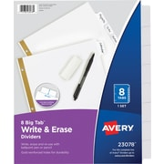 Avery Write-On Big Tab Dividers, White, 8-Tab Set (23078)