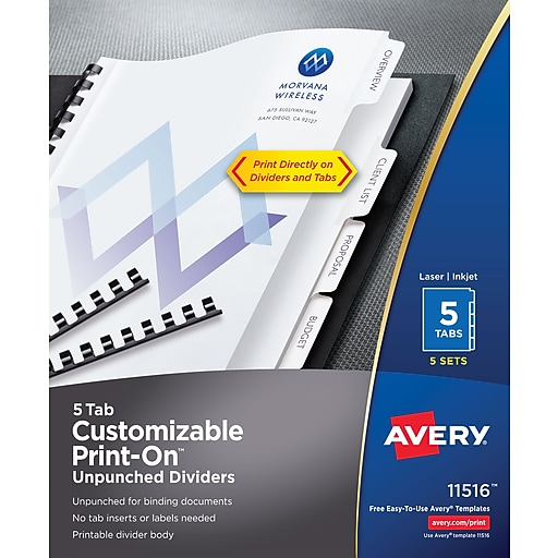 Averyr Unpunched Print Ontm Dividers 11516 White 5 Tabs 5