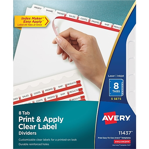 Avery Index Maker Clear Label Tab Dividers 8 Tab White 5 Sets