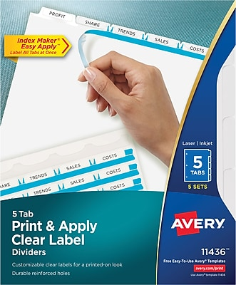 Avery Clear Label Index Maker Dividers, White, 5-Tab, 5/Pack (11436)