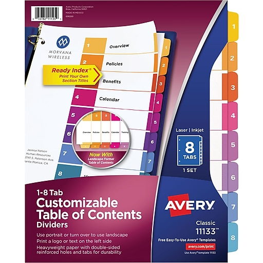 Avery 8 Tab Ready Index Multicolor Table Of Contents Dividers 1