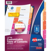 Avery® Ready Index®Table of Contents Dividers for Laser/Inkjet, Numbered 1-5, Multi-Color