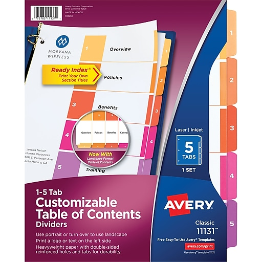 Avery 5 Tab Ready Index Multicolor Table Of Contents Dividers 1