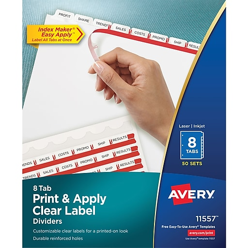 Avery Index Maker Clear Label Tab Dividers 8 Tab White 50 Sets