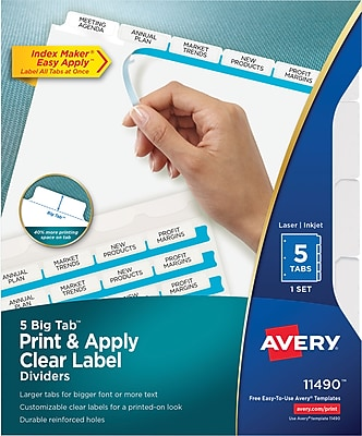 Avery® Index Maker® Big Tab Clear Label Dividers, 5-Tab, White, 8 1/2