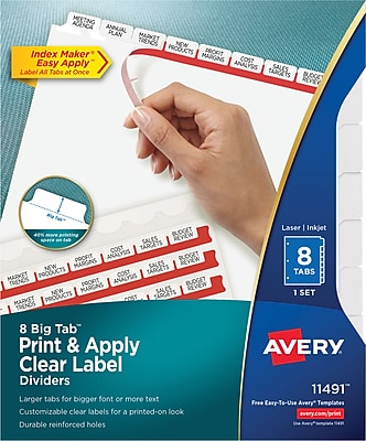 Avery® Index Maker® Big Tab Clear Label Dividers, 8-Tab, White, 8 1/2