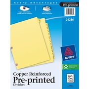 Avery Copper Reinforced Preprinted Dividers with Jan-Dec Tabs, 12-Tab Set (24286)