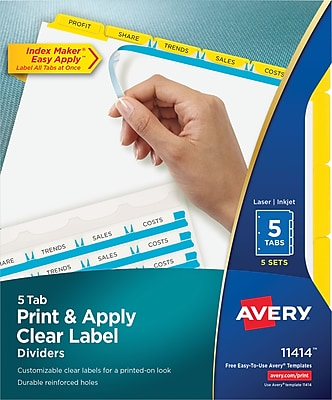 Avery® Index Maker® Clear Label Dividers, 5-Tab, Yellow, 8 1/2