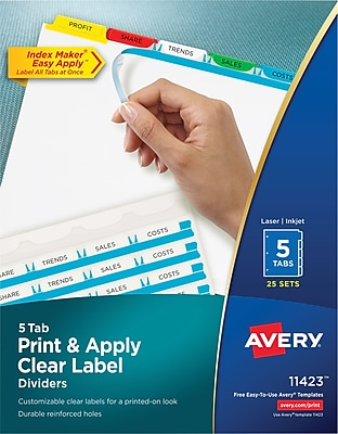Avery® Index Maker® Easy Apply™ Clear-Label Dividers, Primary Multi-Color Tabs, 5 Tabs, 25 Sets/Box