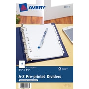 "Avery® Mini Pre-Printed Tab Dividers, A-Z Tabs, White, 5 1/2"" x 8 1/2"", 1/St"