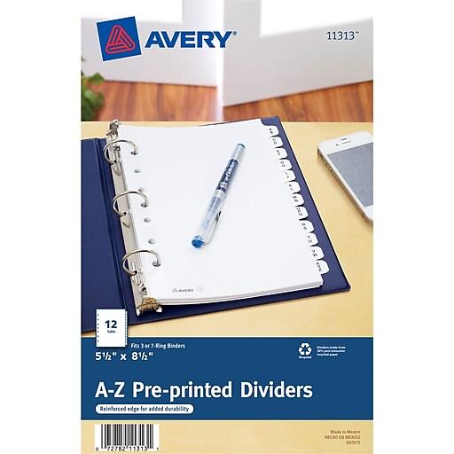 avery 11313 mini pre printed divider white a z staples