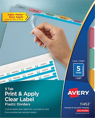 Avery® Index Maker® Clear Label Dividers, 5 Tabs, Multicolor