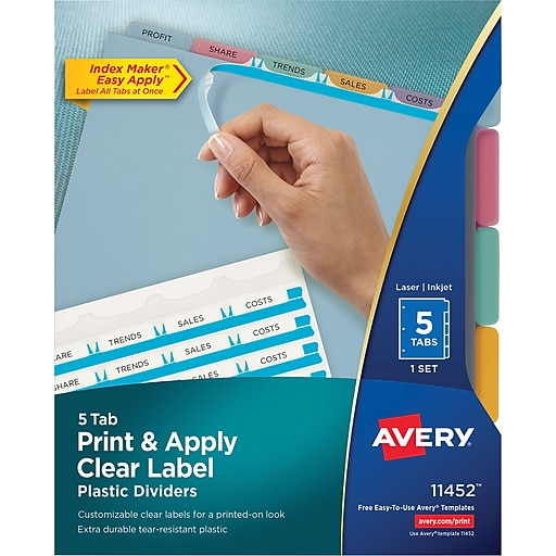 Avery Index Maker Translucent Clear Label Tab Dividers 5 Tab
