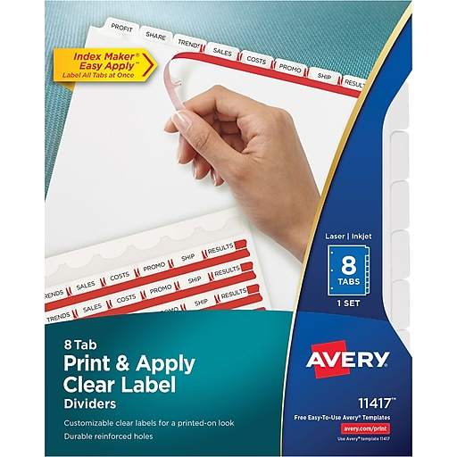 Avery Index Maker Clear Label Tab Dividers 8 Tab White 1 Set