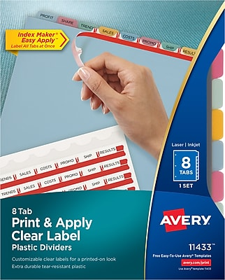 Avery® Index Maker® Translucent Clear Label Tab Dividers, 8-Tab, Multicolor, 1 Set/Pack