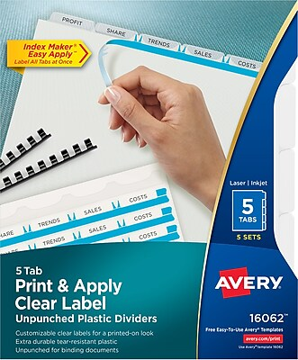 Avery Print & Apply Index Maker Unpunched Plastic Dividers, 5 Clear Tabs, 5 Sets (16062)