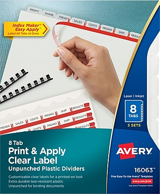 Avery® Index Maker® Clear Label Plastic Unpunched Dividers, 8 Tab, Clear, 8 1/2