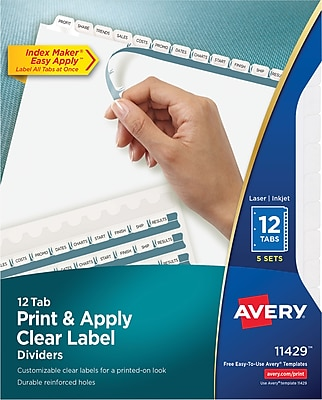 Avery Index Maker Label 12-Tab Dividers, White, 5 Sets/Pack (11429)