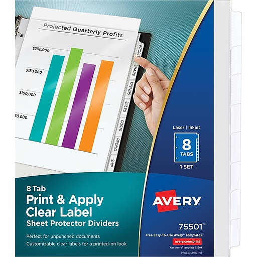 Avery Index Maker Clear Pocket Clear Label Tab Dividers 8 Tab