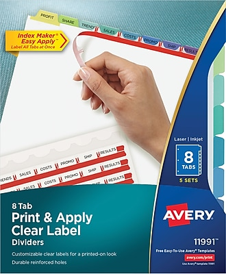 Avery® Clear Label Index Maker® Presentation Dividers, 8 Tab, 5/Sets