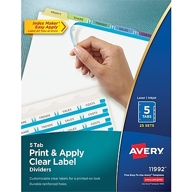 Avery® Index Maker® Easy Apply™ Clear-Label Dividers, Fashion Multi-Color Tabs, 5 Tabs, 25 Sets/Box