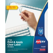 "Avery® Index Maker® Clear Label Dividers, 12 Tab, White, 8 1/2"" x 11"", 1/St"