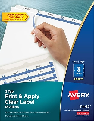 Avery® 11445 Index Maker® Clear Label Dividers, 3-Tab, 25 Sets