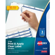 Avery® Index Maker® Clear-Label Dividers, White, 3 Tabs, 5 Sets/Pack