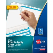 "Avery Index Maker Label 5-Tab Dividers, 8 1/2"" x 11"", White, 25/Box (11446)"