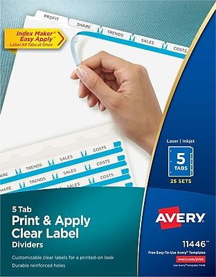 Avery Index Maker Label 5-Tab Dividers, 8 1/2
