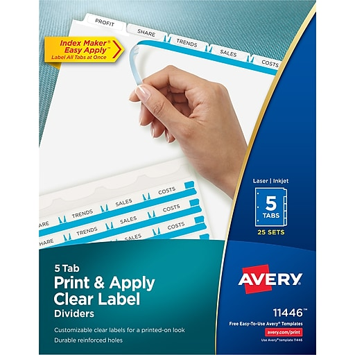 Avery Index Maker Clear Label Tab Dividers 5 Tab White 25 Sets